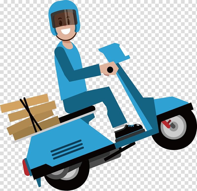 Man riding motor scooter , Delivery Courier, Express by bike.