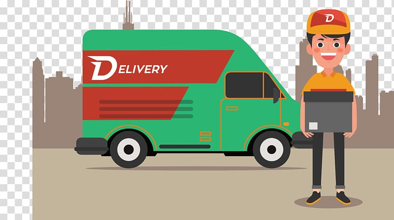 Green delivery truck illustration, Delivery Courier, of.