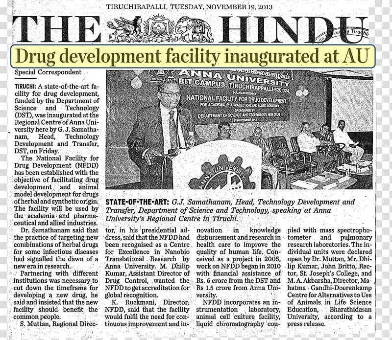 Newspaper The Hindu, Chromepet transparent background PNG.
