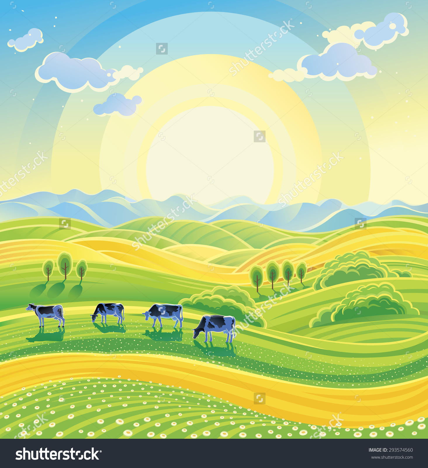 Sunny Summer Landscape Herd Cows On Stock Vector 293574560.