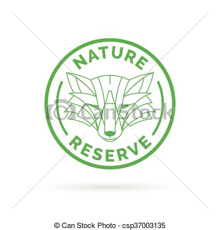 Vectors of Wildlife park nature reserve icon emblem with wild fox.