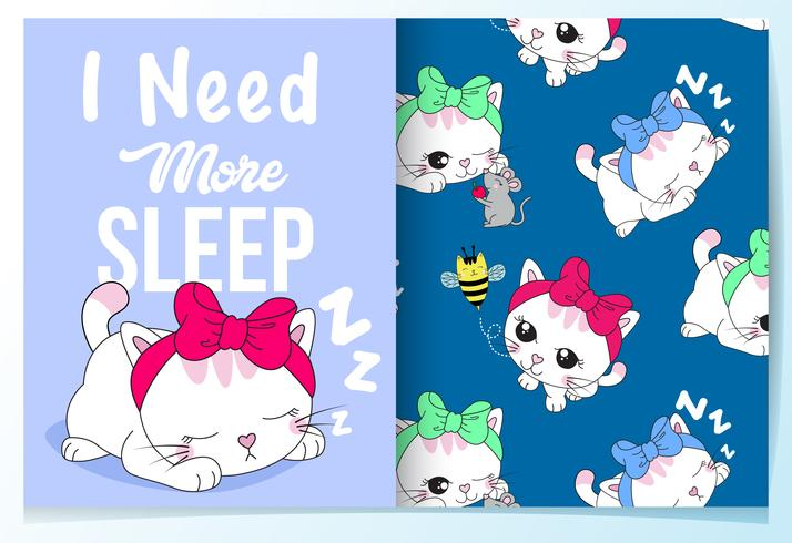 Hand drawn cute sleeping cat with pattern set.