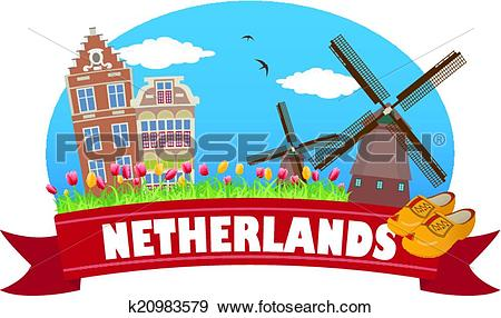 Clip Art of Netherlands. Tourism and travel k20983579.
