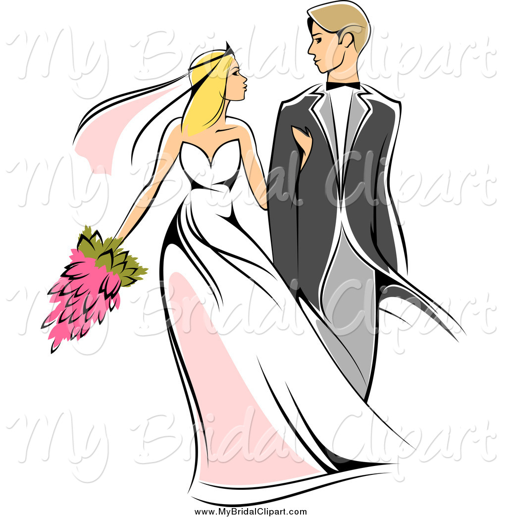 Bridal Clipart of a Sketched Caucasian Newlywed Couple Walking and.