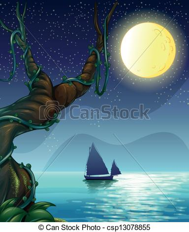 Clipart Vector of A boat sailing in the middle of the night.