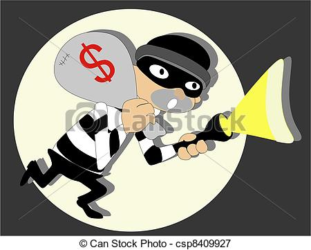 Vectors Illustration of Thief in the night.