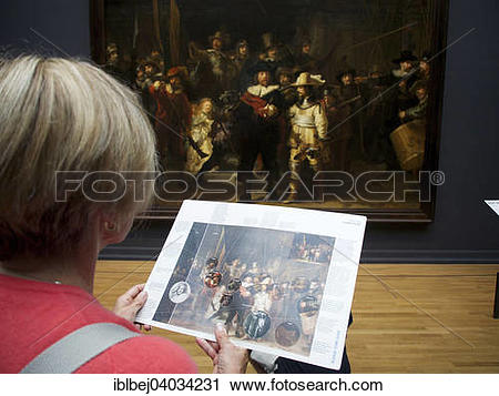 """Stock Photography of """"Visitor watching the painting The Night."""