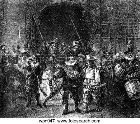 Stock Illustration of The Night Watch, Holland, c. 1600. from the.