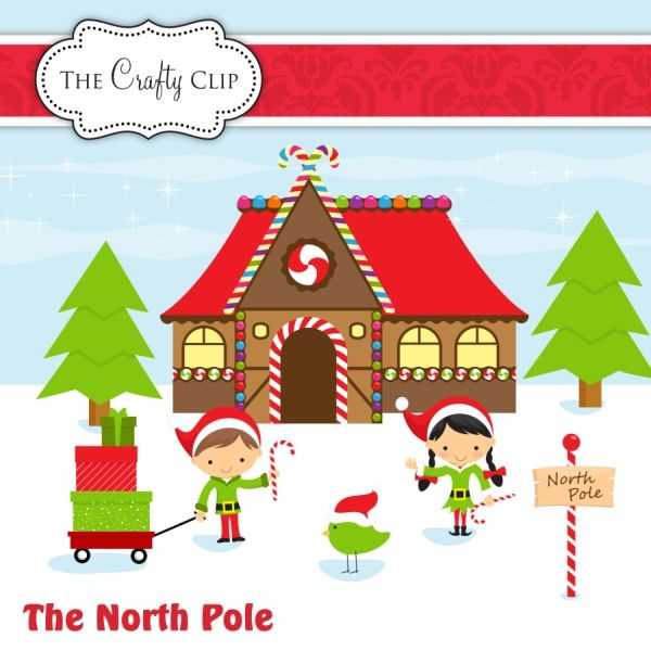 This charming North Pole clipart set is perfect for crafting.
