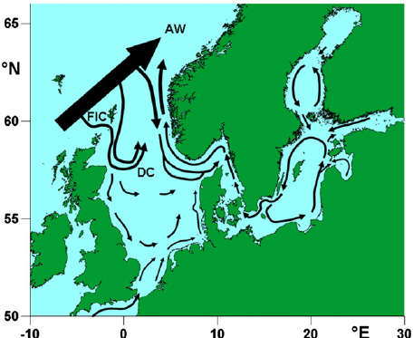 Map of the North Sea and the Baltic Sea with ICES subdivisions.
