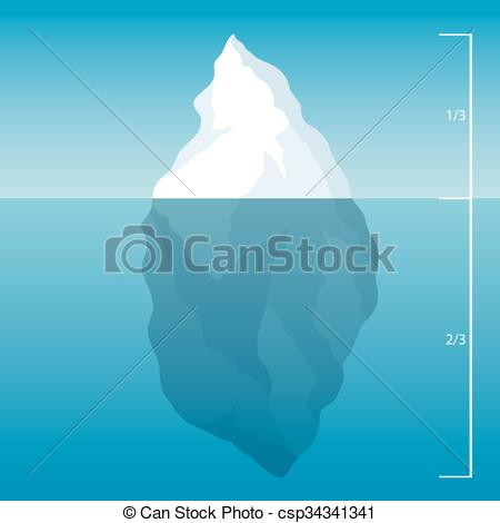 EPS Vector of iceberg in the North Sea. illustration background.