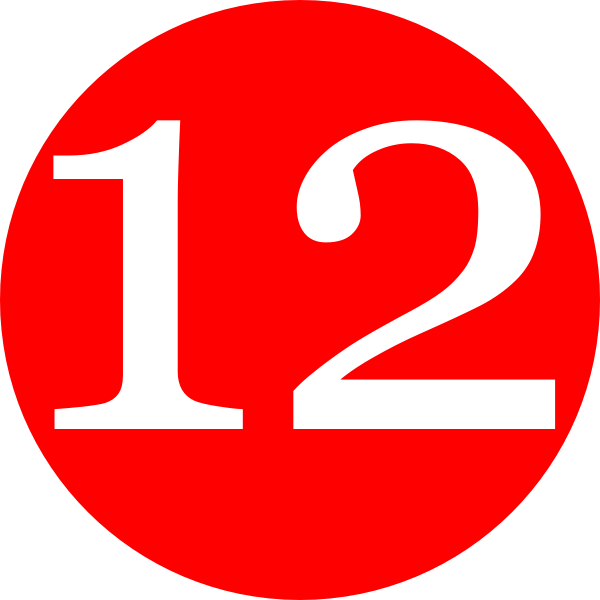Red, Rounded,with Number 12 Clip Art at Clker.com.