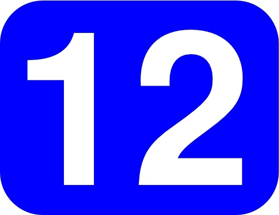 Blue Rounded Rectangle With Number 12 clip art Free vector.