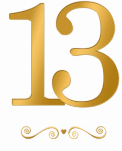 Number 13 Gold Gifts on Zazzle.