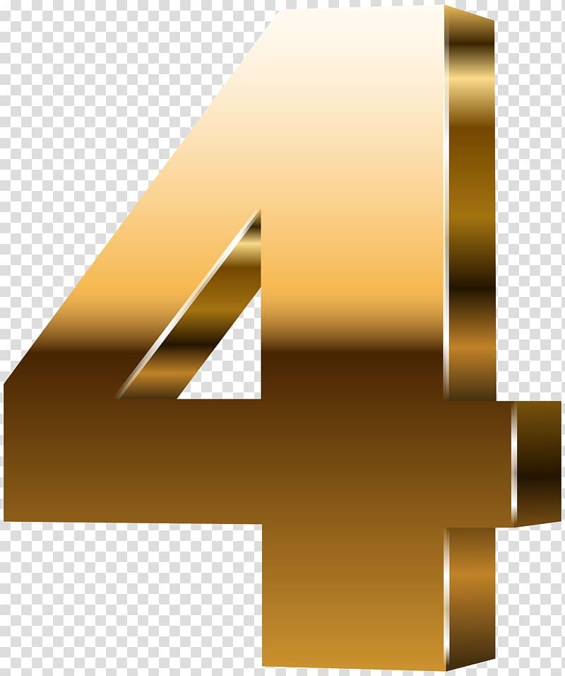 Gold number \'\'4\'\' illustration, 3D computer graphics.