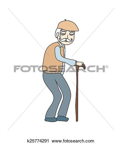 Clipart of The old man on a white background, vector k25774291.