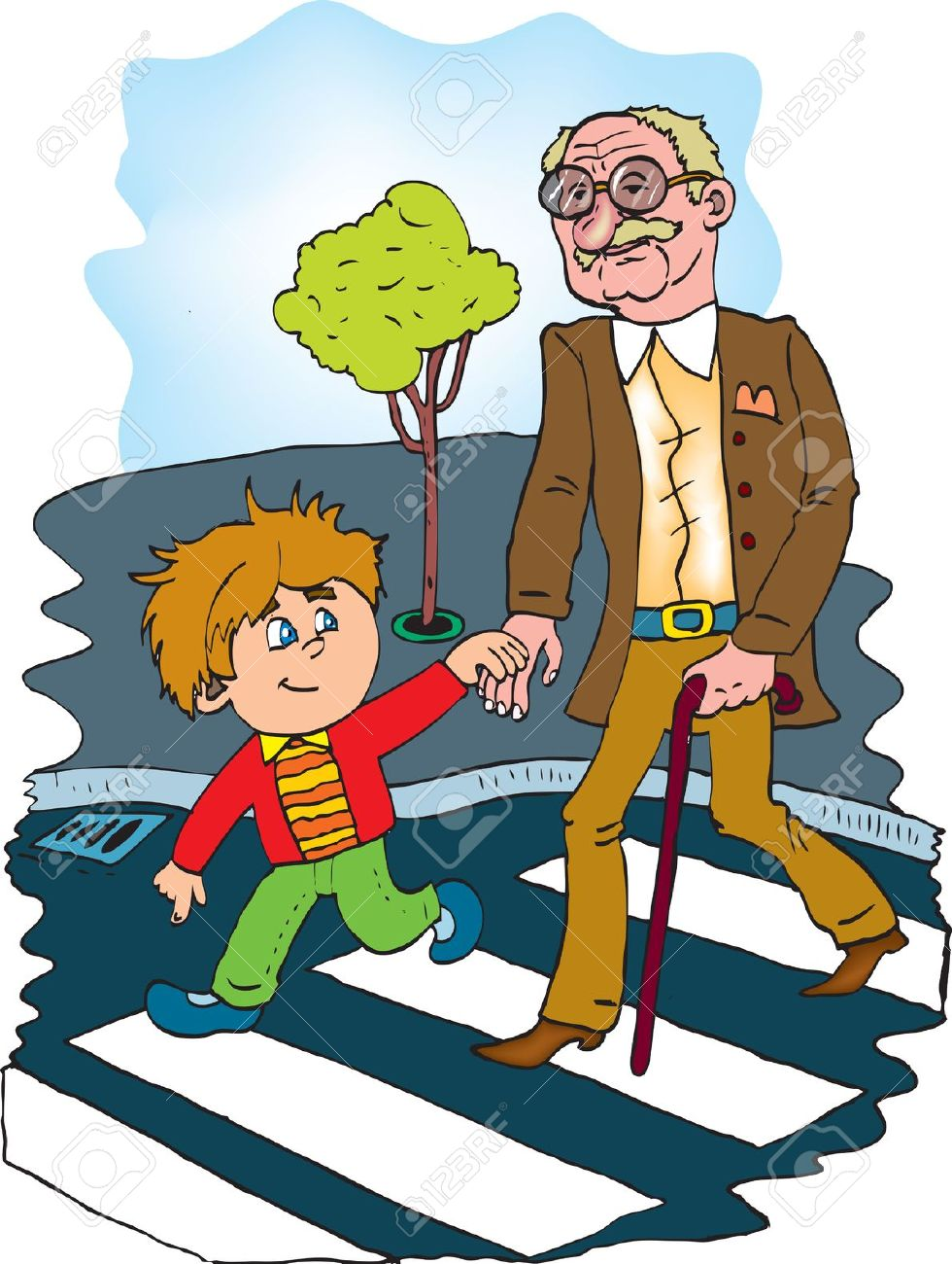 Boy and old man clipart.