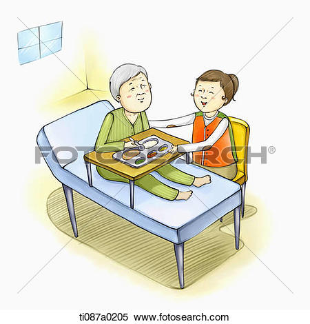 Stock Illustration of Volunteer helping the old man to have meal.