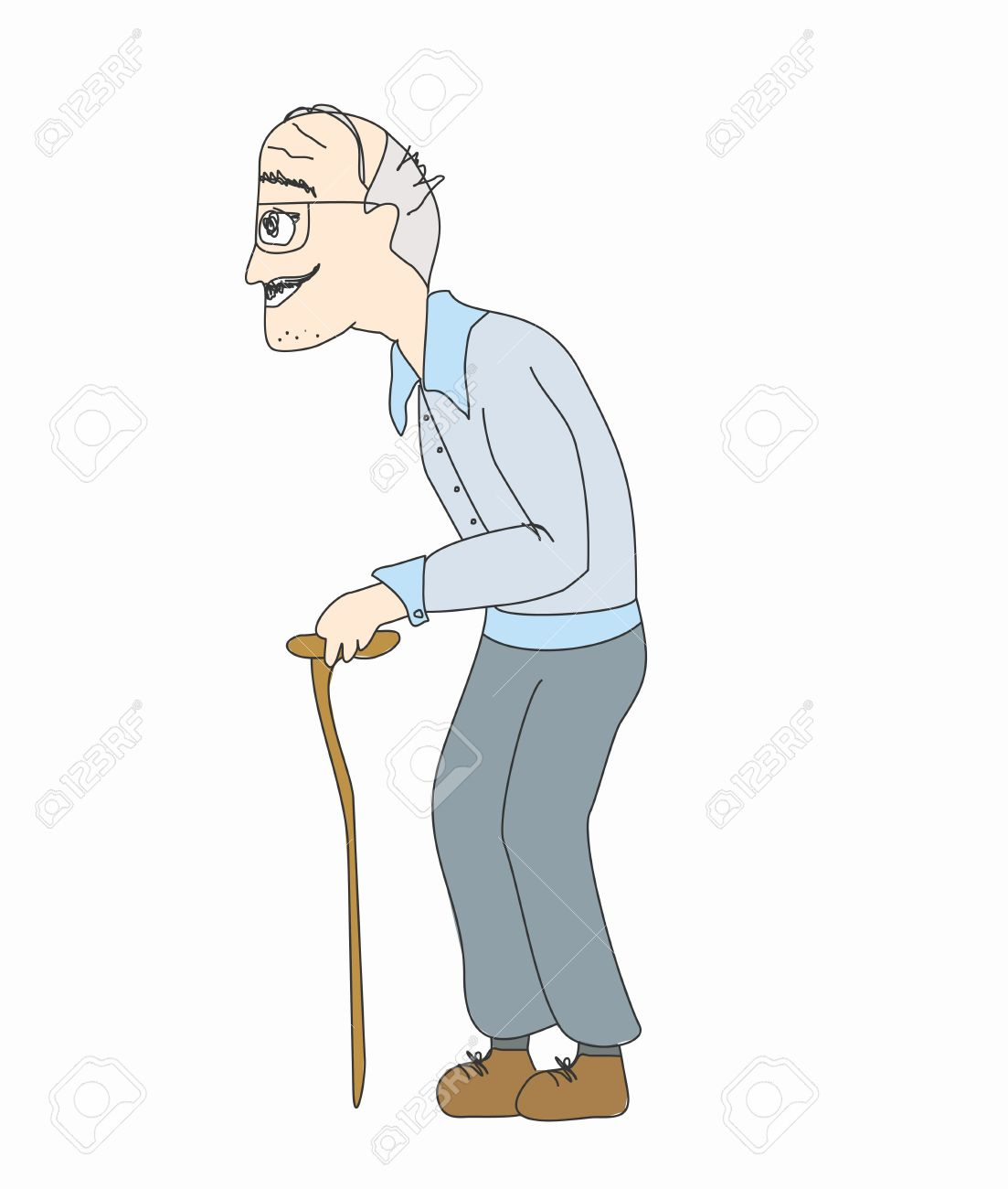 Old man walking clipart.