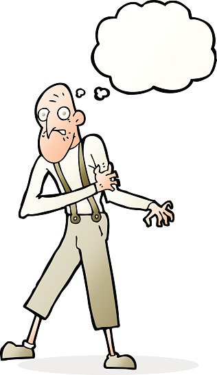cartoon old man having heart attack with thought bubble.