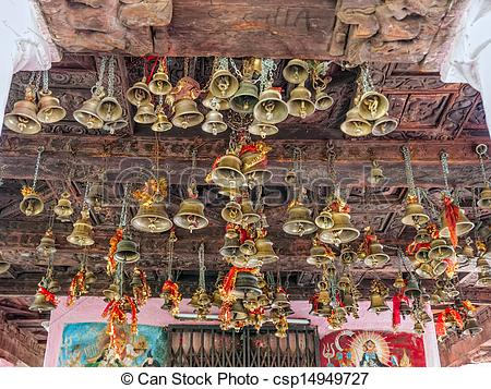 Stock Photo of Bells of the old temple Chamunda Mata.