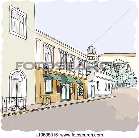 Clip Art of Street in the old town. k10688316.