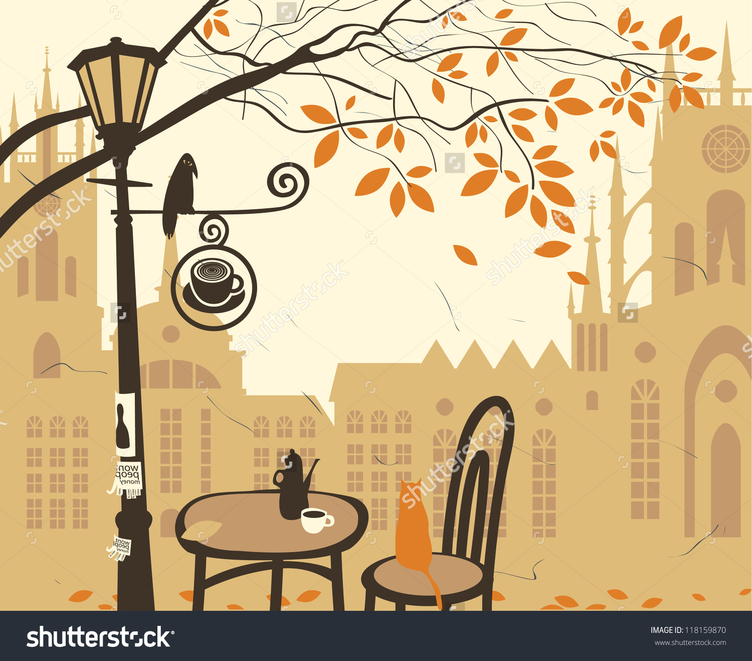 Landscape Old Town Street Cafe Stock Vector 118159870.