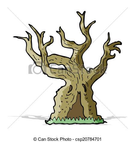 Vector Clipart of cartoon spooky old tree csp20784701.