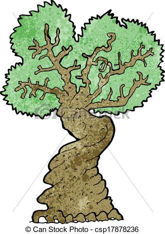 Vectors of cartoon big old tree csp17878236.