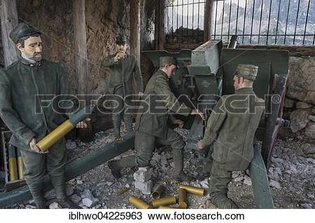 Stock Photo of WWI outdoor museum, soldiers firing grenades, Five.