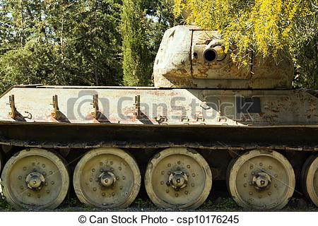 Stock Photo of Ancient Tanks & Vehicles at North Cyprus Open Air.