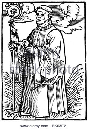 Martin Luther As A Monk. Woodcut By Lucas Cranach, Dated 1521. Ml.