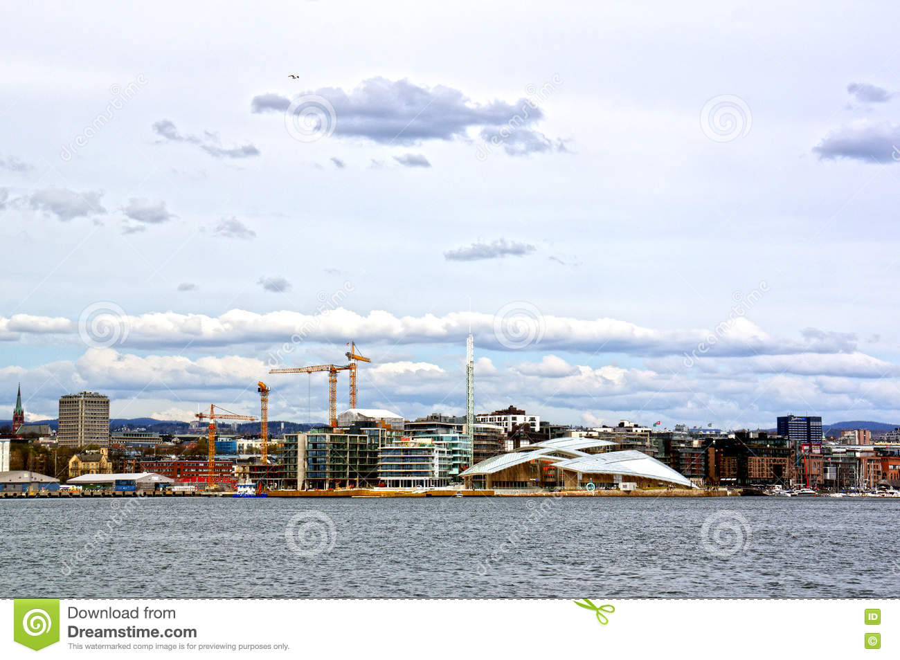 View From The Sea To Oslo And The Oslo Fjord. Norway Editorial.