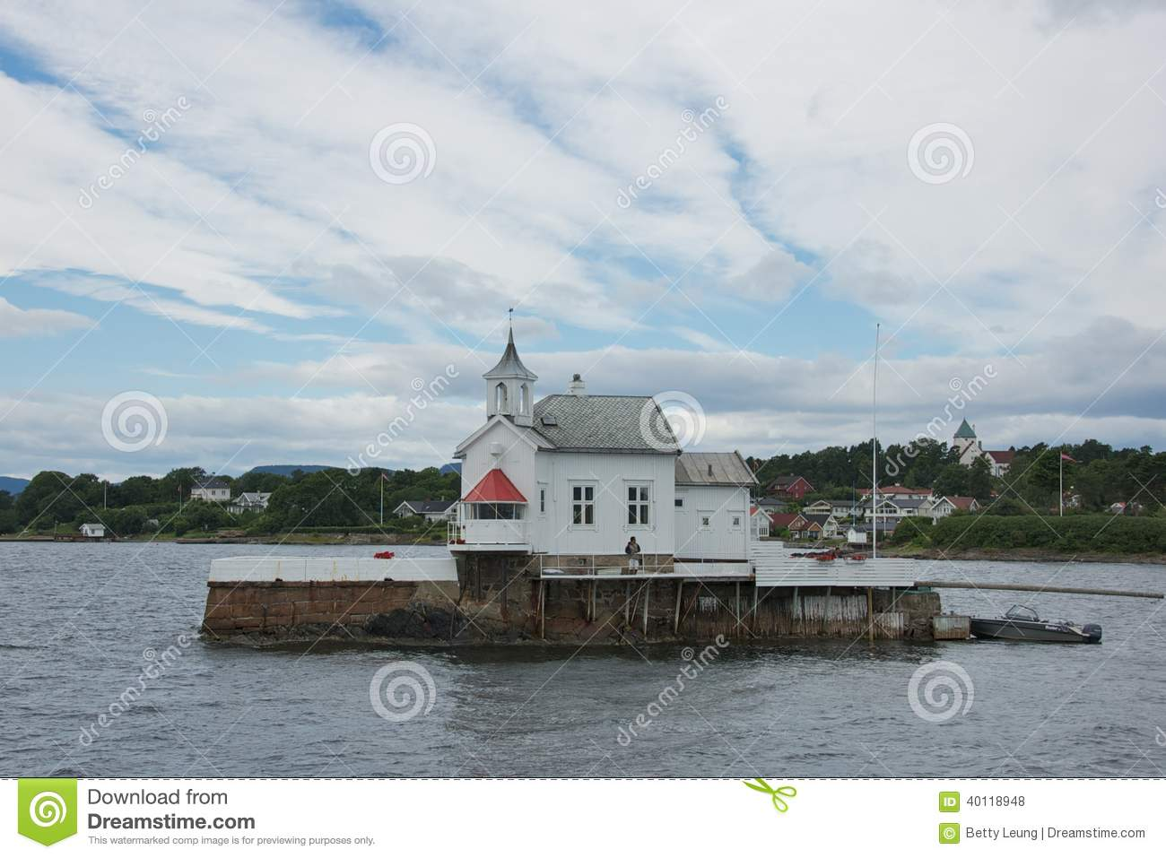 Summer House At Oslo Fjord Editorial Stock Photo.