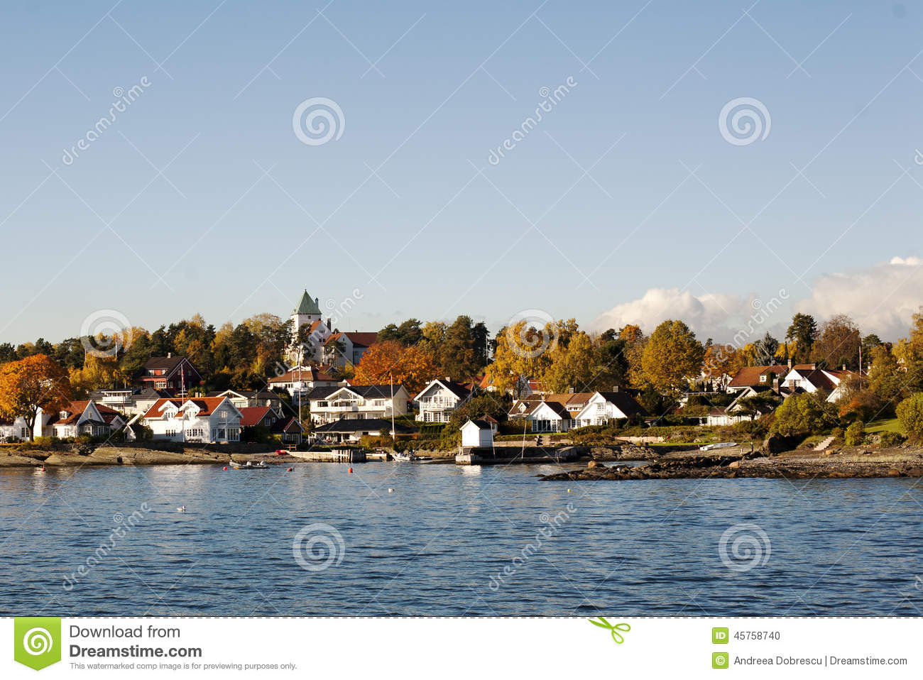 Houses On An Island In The Oslo Fjord Stock Images.