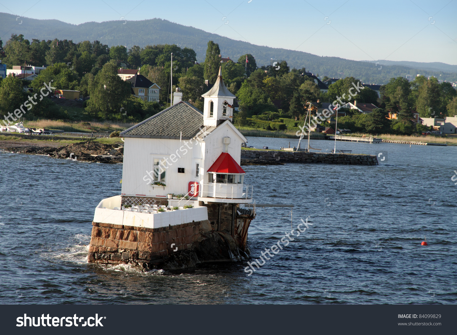 Small Restaurant Church Middle Oslo Fjord Stock Photo 84099829.