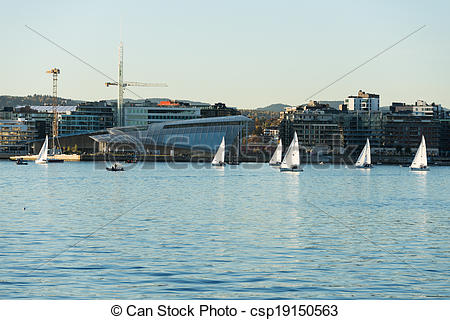 Stock Image of Aker Brygge from Oslo fjord.