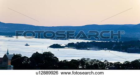 Stock Images of High angle view of bay at dusk, Oslofjord, Oslo.