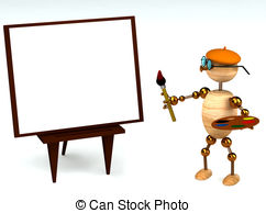 Stock Illustration of Wooden painter case isolated on a white.