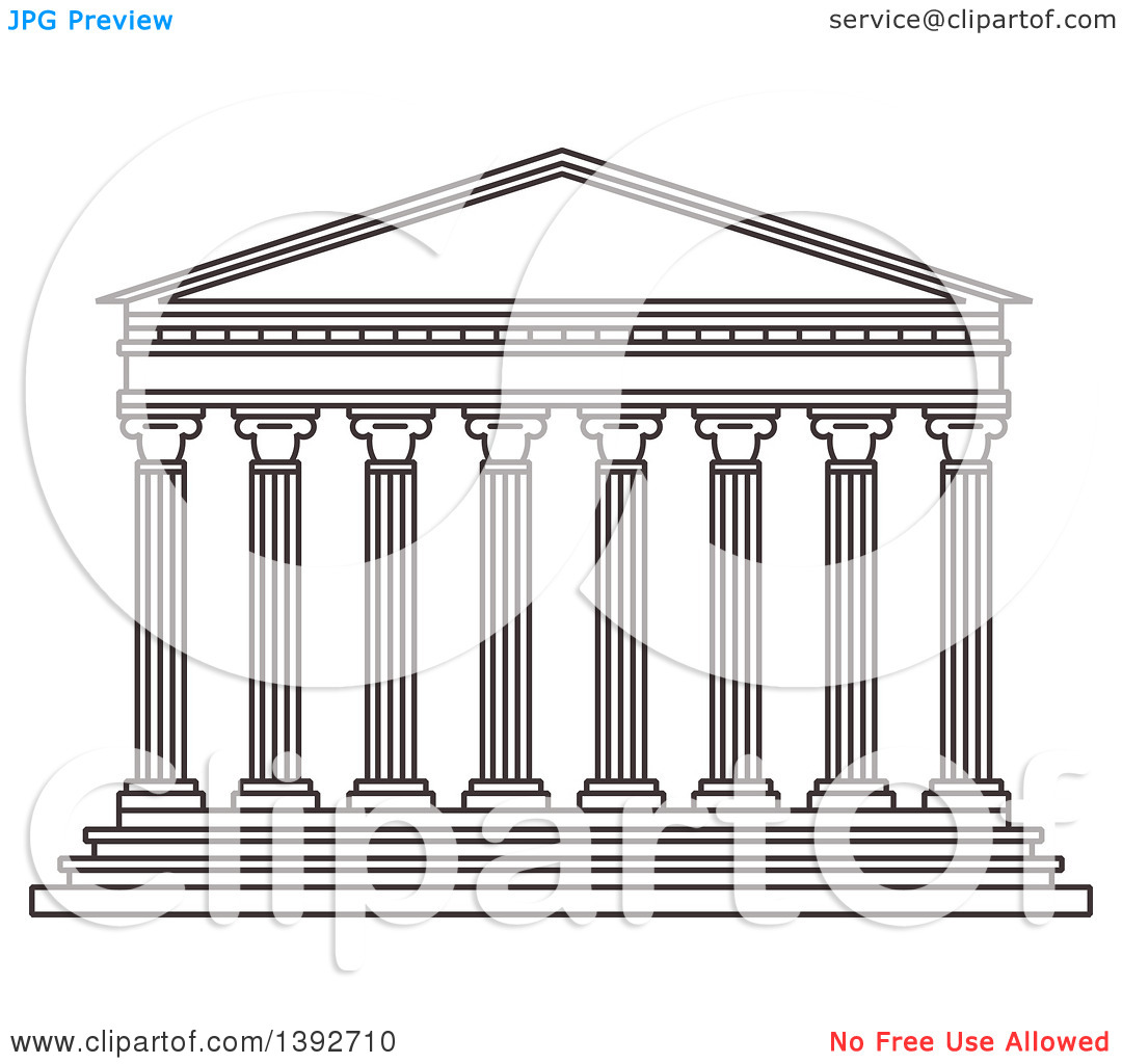 Clipart of a Gray Sketched Travel Landmark of the Parthenon.