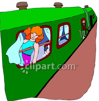 Young Red Haired Girl Going on a Trip on a Passenger Train.