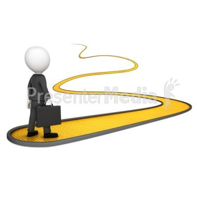 Business Man On Golden Path.