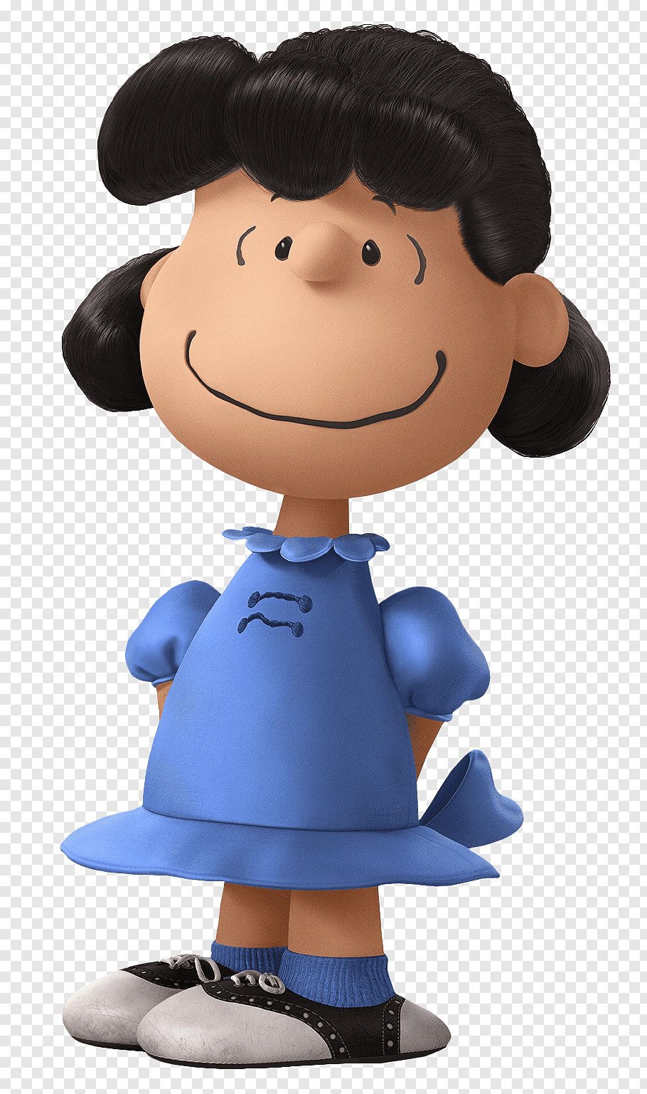 Peanuts comic girl wearing blue dress illustration, Lucy van.