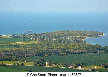 Stock Photo of Pelee island aerial.
