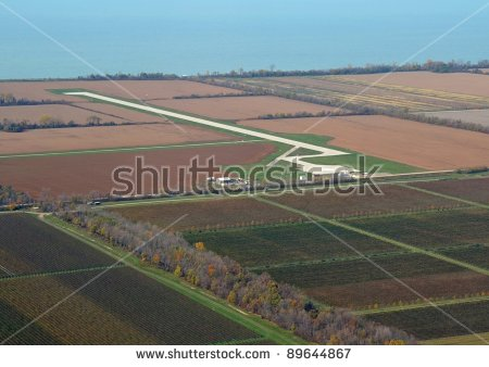 Aerial View Of The Airport On Pelee Island Ontario, Most Southern.