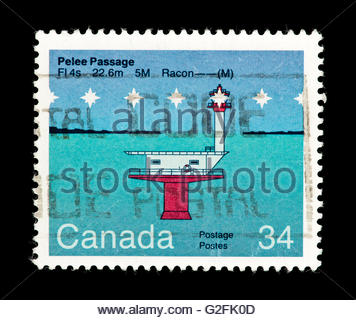 Postage Stamp From Canada Depicting A Steamship Stock Photo.