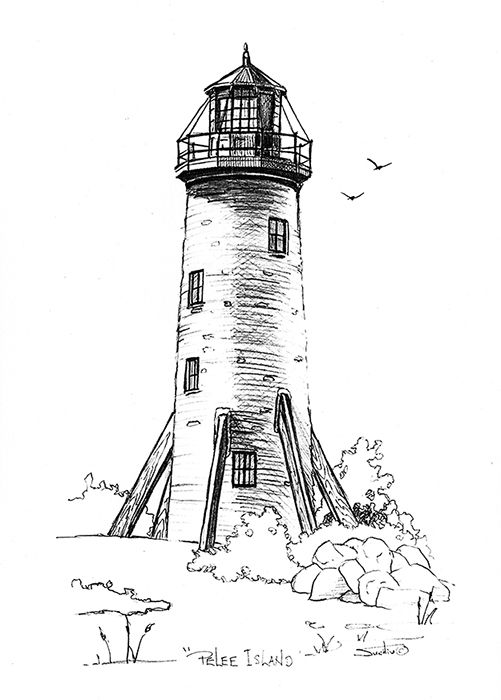"Lighthouse Pelee Island"" The waters of Lake Erie surround rustic."