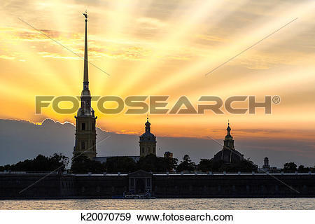 Stock Photograph of Silhouette of Peter and Paul Fortress with.