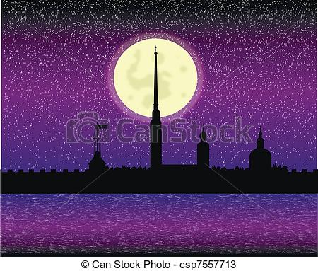 Vectors of Silhouette of Peter and Paul fortress at night.