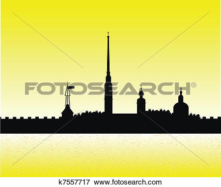 Clip Art of Silhouette of Peter and Paul fortress at sunset.
